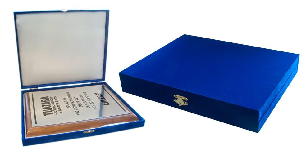blue velvet presentation box