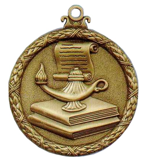 Antique lamp of knowledge medal